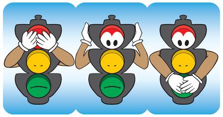 see no evil: Cartoon stop lights emulating see no evil, hear no evil, speak no evil