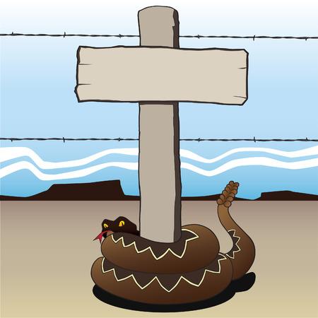 Rattlesnake wrapped around blank wooden sign in desert