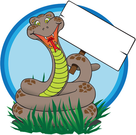 forked tongue: Happy snake holding blank sign