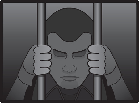 gripping bars: Depressed prisoner behind bars