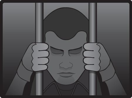 Depressief gevangene achter de tralies Stock Illustratie