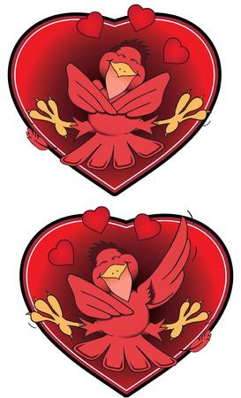 lovebirds: Red lovebirds inside valentine hearts