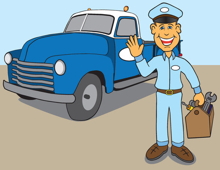 Retro service guy arriving in old pickup to make repair