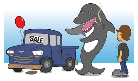rip off: Shark salesman attempting to sell junk heap to teen Illustration