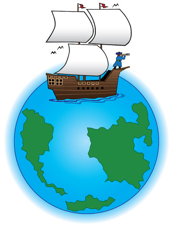 Old time sailing ship on globe with captain in bow holding telescope