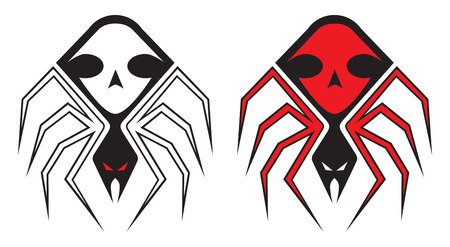 Spider tattoo design in red and black Vector