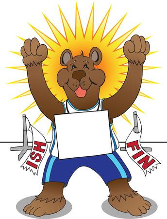 ebullient: Happy cartoon bear has just won his race Illustration