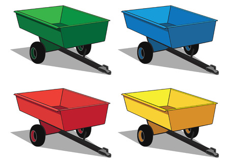 utilitarian: Small utility trailer in four different color schemes