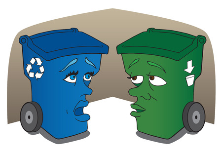 humiliated: Recycle and garbage containers talking trash