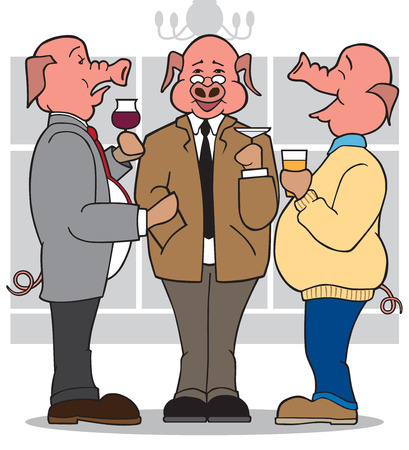 banter: Three cartoon business pigs at cocktail party Illustration