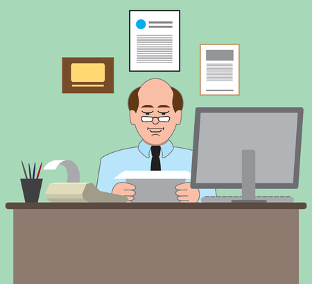 Accountant: Accountant working at his desk Illustration