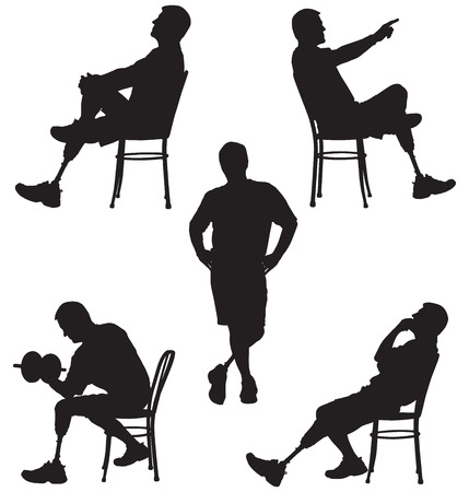 tasks: Amputee in silhouette performing various tasks Illustration
