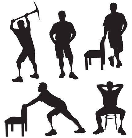 Amputee in silhouette performing various tasks Illustration