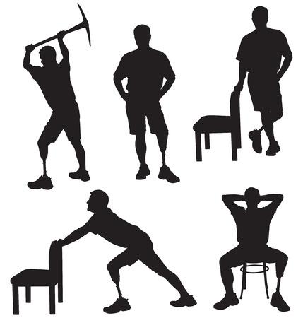 Amputee in silhouette performing various tasks 向量圖像