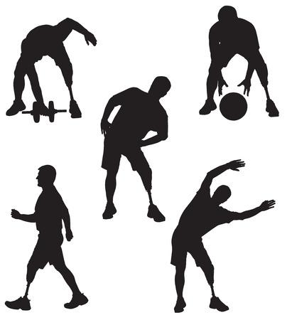 Amputee in silhouette performing various activities Stock Illustratie