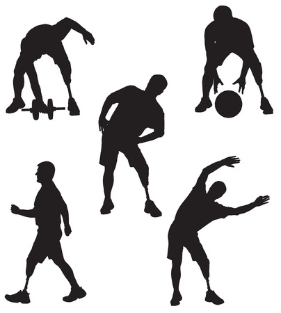 Amputee in silhouette performing various activities Illustration