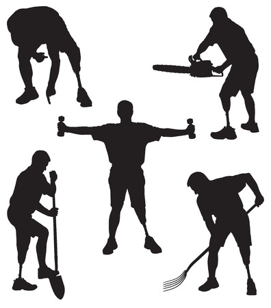 Amputee in silhouette in various activities