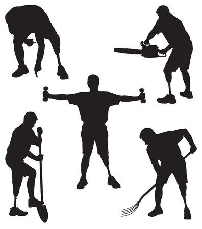 Amputee in silhouette in various activities