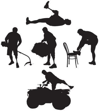 bale: Amputee in silhouette in various activities