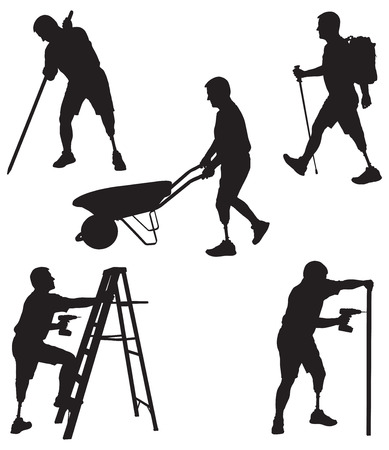 amputation: Amputee in silhouette in various activities