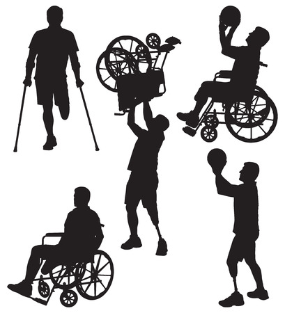 wheelchair: Amputee in silhouette engaged in various activities