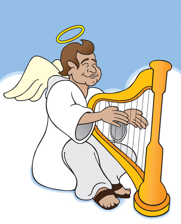 Angel sitting among the clouds in heaven strumming his harp