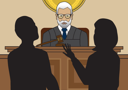 oversee: A couple of lawyers arguing a case in front of the judge Illustration