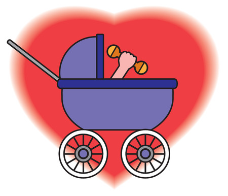 Baby in carriage raising his rattle