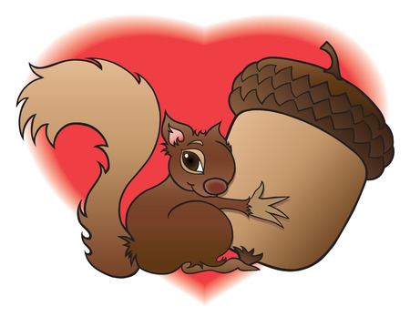 rubbing noses: Baby squirrel loving on his huge acorn