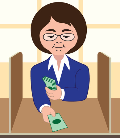Female bank teller processing transaction Illustration