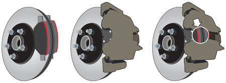 Three views of a standard disk brake assembly