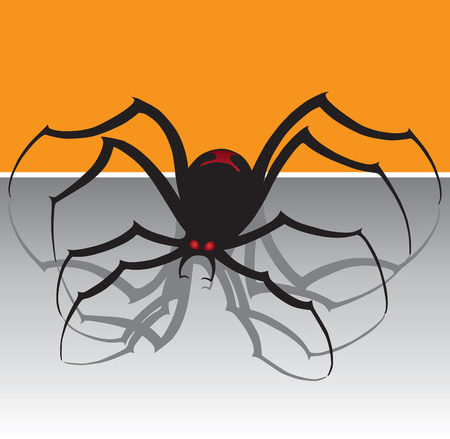 arachnophobia: Menacing black widow spider with red eyes Illustration