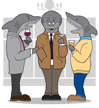Business sharks visiting at a cocktail party Çizim