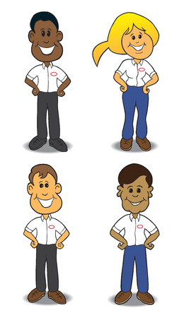 Four different service people in uniform Illustration