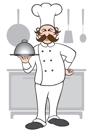 Chef presenting his latest creation Stock Illustratie