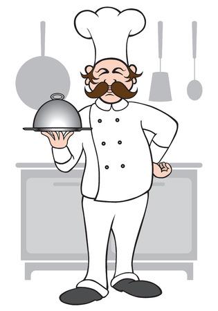 Chef presenting his latest creation Illustration