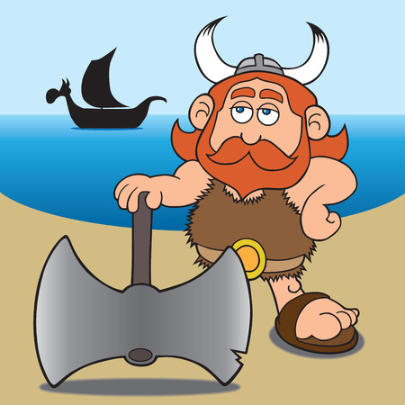 Viking has just landed on a beach with his large ax