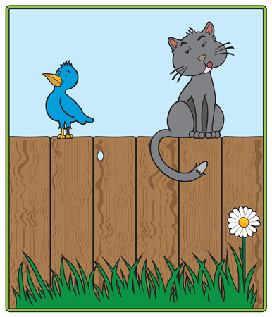 Cat and bird sitting on fence looking at each other suspiciously Vector