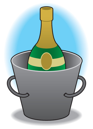 Champagne bottle chilling in bucket of ice Ilustrace