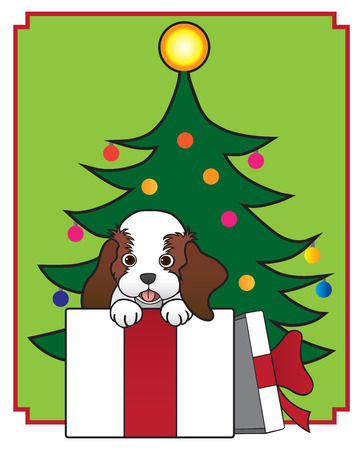 companions: Puppy inside empty box in front of Christmas tree Illustration