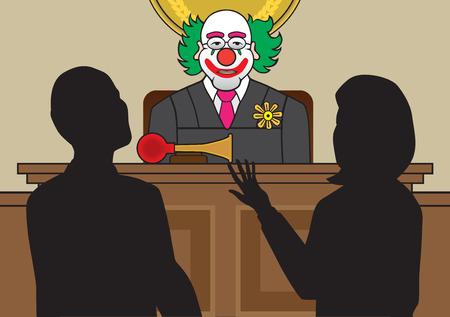 Clown sędzia słuchania adwokatów twierdzą sprawy