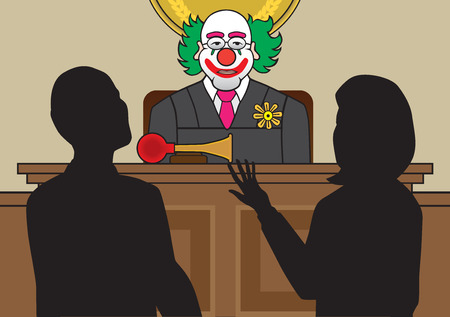 Clown judge listening to attorneys argue a case Illustration