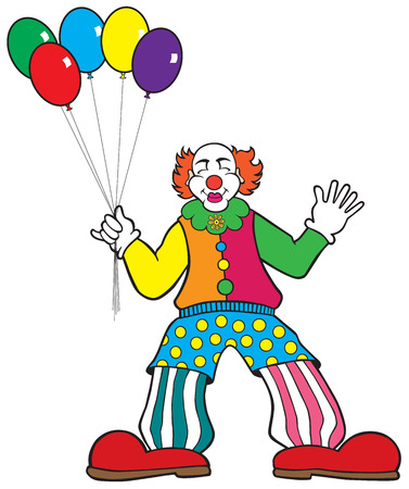 wag: Clown with balloons waving at onlookers