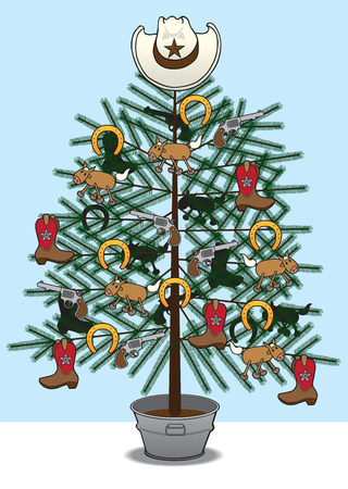 western theme: Christmas tree decorated with western paraphernalia Illustration