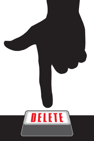 Hand in silhouette about to press large delete button Illustration