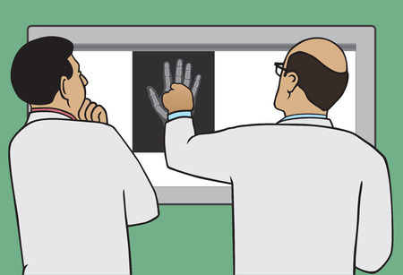 Two doctors viewing x-ray of injured hand