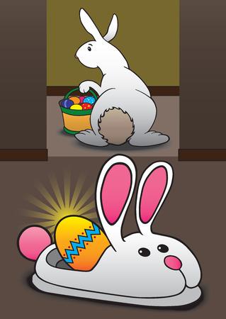 silent: Easter bunny has just hidden egg in bunny slipper