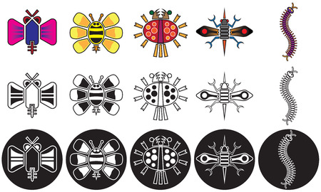 Collection of stylized fanciful insects in color and black and white Illustration
