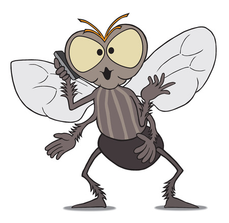 Excitable cartoon fly talking on cell phone Ilustracja