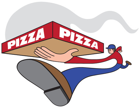 Elongated pizza guy carrying hot pie in box. Vector